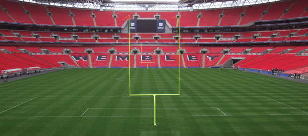 Harrod UK's International NFL American football posts at Wembley Stadium.