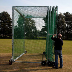 Concertina cricket cages can be folded to minimise space taken up whilst not in use.