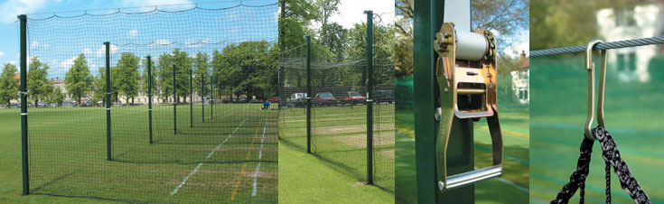 Cricket net winch system, showing the tensioning winch and wire.