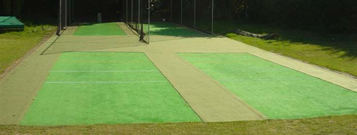 Example of infill carpet between cricket playing surfaces.